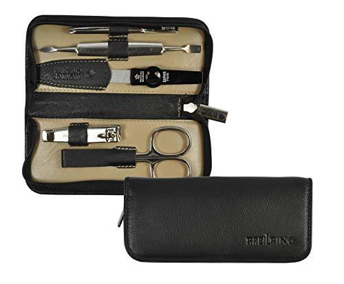 Pfeilring Manicure-Etui aus Nappaleder, 5-teilige Nickelfüllung (Nagelknipser, Nagelschere, Pinzette, Nagelfeile, Doppelinstrument), schwarz/beige, 1er Pack (1 x 5 Stück)