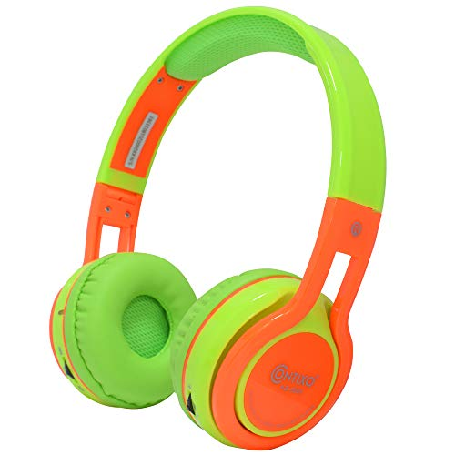 Contixo KB-2600 Kids Over Ear Foldable Bluetooth Headphones - Kids Safe 85dB with Volume Limiting - Built-in Microphone - Micro SD Card Slot - FM Stereo Radio - Phone Controls (Green + Orange)