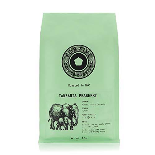 For Five Coffee Roasters - Roasted In NYC - Tanzania Peaberry Medium Roast (Origin: Ruvuma, South Tanzania), Ground 12oz
