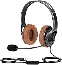 USB Headset for Microsoft Teams, Zoom Meeting Headset with Noise Cancelling Mic, Mute Button and in-Line Volume Control, PC Headphones for Video Conference Calls, Wired Laptop Headset for Computer
