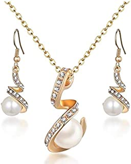 Classic Pearl Gold Design Jewelry Set Beaded With White Stone For Women - Handcrafted Prestige Collection Necklace & Earri...