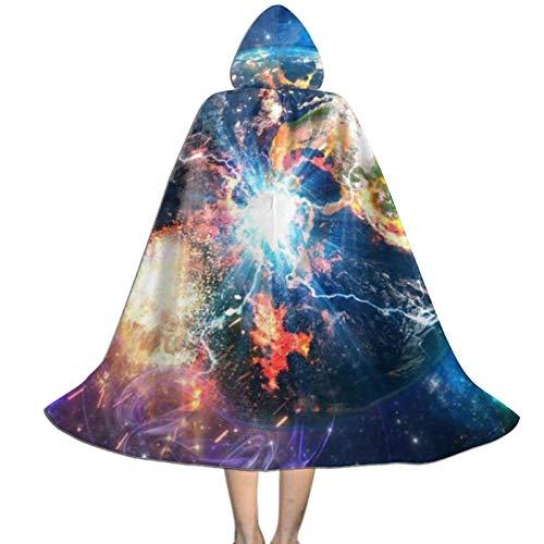 Rtbb - Capa con capucha para nios, 3D, la Tierra en galaxia, Navidad, Halloween, fiestas, cosplay, para nios y nias (3 tamaos)