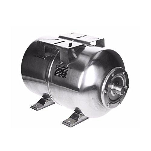 ECD Germany Edelstahl Membrankessel 24L mit EPDM Membran, 1 Zoll Anschluss, max. Druck 6 Druckkessel für Hauswasserwerk Ausdehnungsgefäß Druckbehälter Kessel Edelstahltank