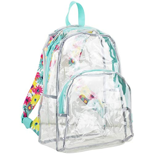 Eastsport Clear Dome Backpack with Adjustable Printed Padded Straps (Transparent - Turquoise/Watercolor Floral Print)