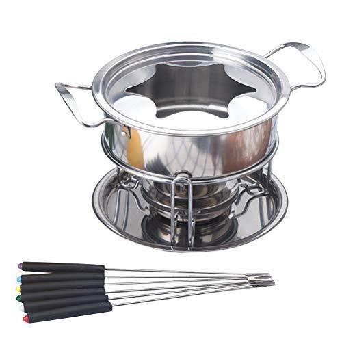 Bestonzon, Set per fonduta e fonduta in Acciaio Inox per fonduta, Set di Accessori da Cucina (Argento)