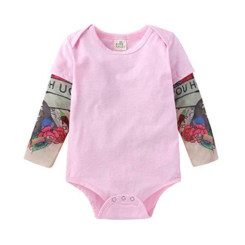 PAUBOLI Einteiler mit gefälschten Tattoo-Ärmeln, für Babys, 3-24 Monate, Grau / Schwarz Gr. 68, rose