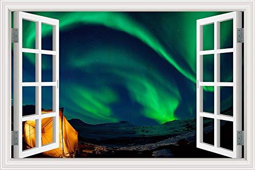 Schillernde schöne Winternacht Sternenhimmel Arktische Aurora Lila Schnee Landschaft Wandaufkleber Vinyl Wandbild 3D Fenster Ansicht PVC Aufkleber Schlafzimmer Wohnkultur