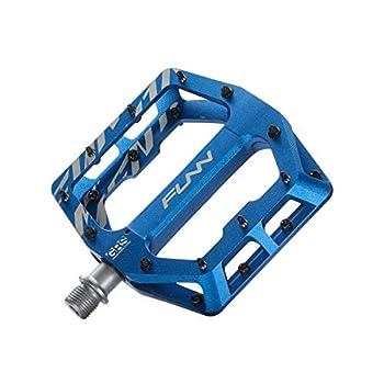 Funn Funndamental Flat BMX/MTB Bike Pedal Set - Wide Platform Bicycle Pedal Adjustable Grip 9/16-inch CrMo Axle  Blue