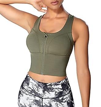 Women Zip Front Sports Bras Longline Fitness Crop Tops Tank Gym Yoga Workout Shirts  Green Large l