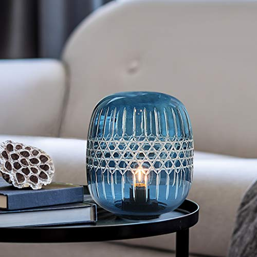 Battery Operated Table Lamp, Cordless Lamps for Home Decor, Glass Battery Powered Nightlight with LED Bulb with Timer, Decorative Lights for Living Room Bedroom Bedside Tabletop Entryway Gift(Blue)