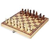 HYLX Juego de ajedrez plegable internacional juego de ajedrez portátil de madera lisa magnética tablero de ajedrez piezas kit estimule su cerebro ejercicio su mente para fiestas actividades familiares