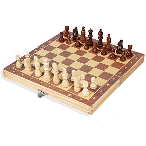 Riyyow Kit de Piezas de ajedrez del ajedrez del Tablero de Madera Liso Liso portátil para el Ejercicio de su Cerebro Ejercite su Mente para Las Actividades Familiares de la Fiesta