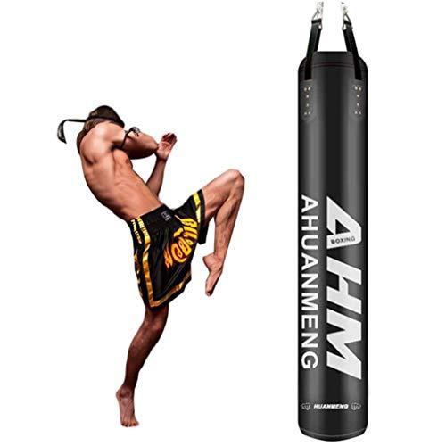LWDDT Gefüllter Schwerer Boxsack, Hängender Hohler Box-Boxsack Aus PU-Mikrofaser-Leder Für MMA Muay Thai-Trainingsgeräte(Color:schwarz,Size:180cm)
