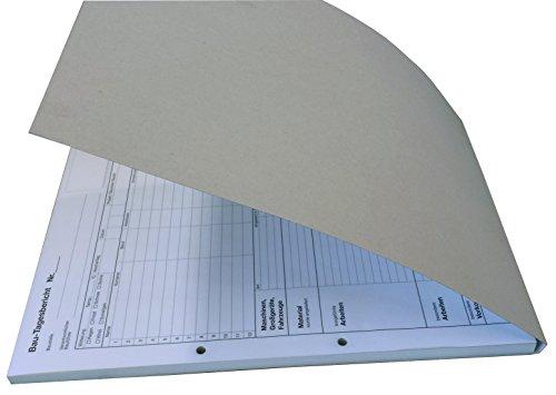 10x Bau-Tagesbericht, Baubericht Bautagebuch DIN A4, 3-fach selbstdurchschreibend, 3x30 Blatt weiß/grün/gelb - gelocht (22205)