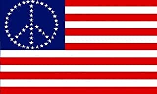 USA American Flag with Peace Sign Symbol Hippie Banner United States 3x5 New BEST Garden Outdor Decor polyester material FLAG PREMIUM Vivid Color and UV Fade Resistant