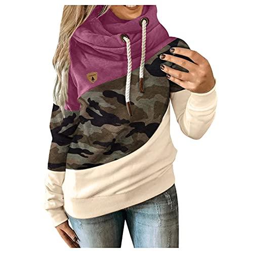 riou Sudaderas Mujer con Capucha Bloque de Color a Rayas Camiseta Manga Larga Túnica Suéter con Cordón Tops con Bolsillos Hoodie Tops Pullover S-5XL