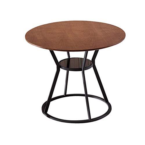 JYQ-SZRQ Tavolino Laterale da Divano American Minimalist Fashion Tavolino da caffè in Ferro battuto Tavolino da Salotto a Due Piani in Legno da Salotto