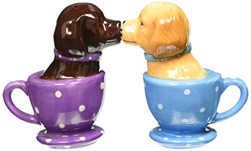 Pacific Trading Labrador Retriever Teacup Magnetic Salt & Pepper Shakers They Kiss! Attractives, 3 1/2'' Tall
