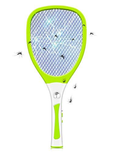 JOLVVN Elektrische Fliegenklatsche Fliegenklatschen Fliegenfänger, Moskito Insektenvernichter mit LED-Beleuchtung USB wiederaufladbare Fly Mosquito Killer, 3000 Volt Schädlingsbekämpfung