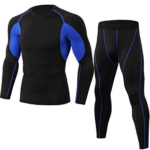 Azruma 2 Teiliges Set Kompressionsshirt Herren, Sportbekleidung Kompressionshose Lang Trainingsanzug Atmungsaktiv Sportwear Fitness für Laufen Radfahren Yoga Shirt + Hosen