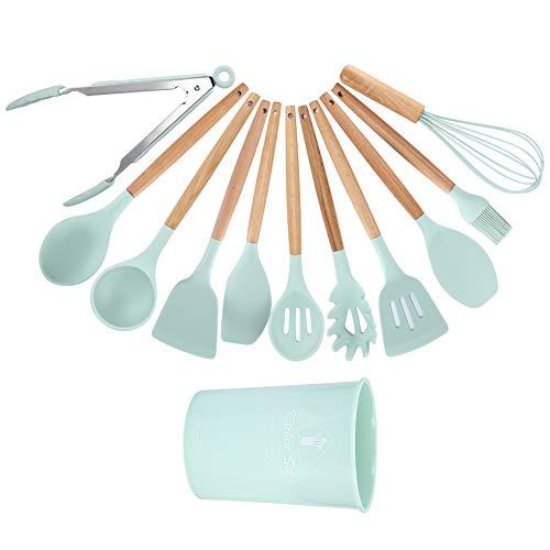 Pulire Utensili da cucina Set, Cucina Gadget Cucina -30-230℃ Calore a Sciolto Silicone Pentole Silicone+Legna