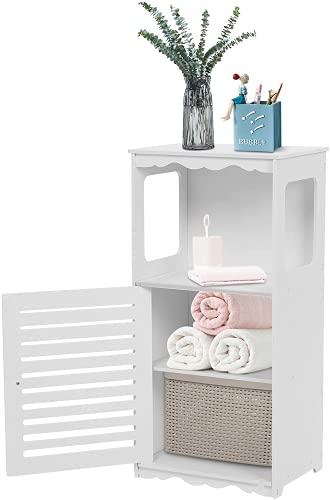 Michellda Armario esquinero de 3 capas, armario de baño blanco, estrecho, multifuncional, estrecho con un extremo abierto, compartimento para cuarto de baño, salón, cocina, 15,6 x 11 x 31,5 cm