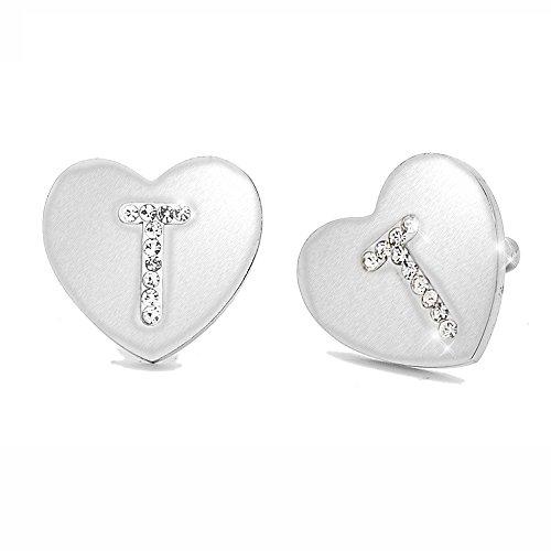 Beloved Orecchini da donna con cristalli in acciaio - con lettera iniziale a forma di cuore - lettera dell'alfabeto in cristalli - Con perno e farfallina - per lobi forati (T)