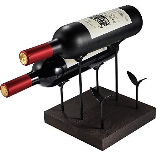 TJ.MOREE Estante para vino de encimera, soporte de madera rústico para vino, centro de mesa pequeño, soporte para almacenamiento de vino para decoración del hogar, bar, despensa - Espresso