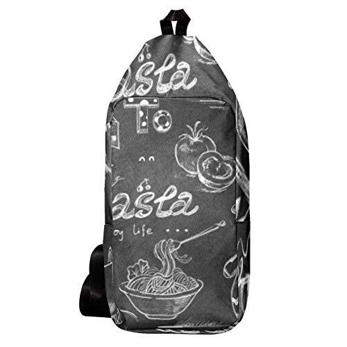 EZIOLY Pasta Cheese Schulter-Rucksack Sling Bag Crossbody Tasche Reise Wandern Daypack für Männer Frauen