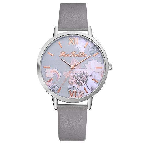 JZDH Relojes para Mujer Moda Mujeres Relojes Silicona Pulsera Impresa Flor Causal Cuarzo Damas Análogas Relojes de Pulsera Relojes Decorativos Casuales para Niñas Damas (Color : Grey)