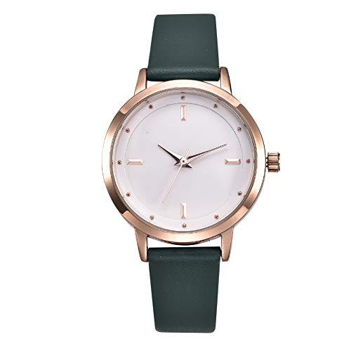 Reloj de cuarzo femenino, reloj femenino con correa de cuero PU, reloj de pulsera de regalo de reloj de cuarzo, con reloj de cuarzo resistente al agua 3ATM, reloj de regalo para amigos(Verde)