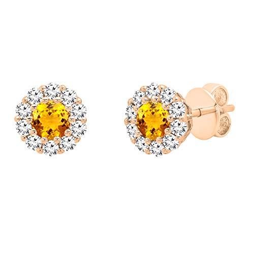 Dazzlingrock collection 3 mm cada uno de piedras preciosas redondas y diamantes blancos para mujer, oro de 14 quilates, citrino Diamante Oro rosa, Citrine Diamond,