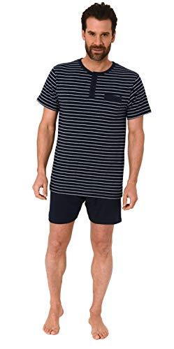Lässiger Herren Shorty Pyjama Schlafanzug Kurzarm in Streifenoptik - 102 105 90 502, Farbe:Marine, Größe2:56
