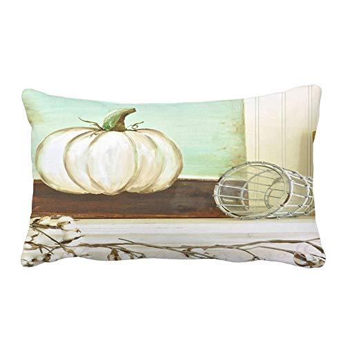 Snowfoller Shabby Chic Lumbar Pillow Cases 12X20 Inches, Halloween Decorations Pumpkin Farmhouse Fall Pillow Covers(H)