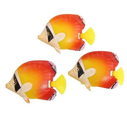 sourcingmap Orange Rouge Jaune en Plastique Poissons tropicaux Décoration pour Aquarium