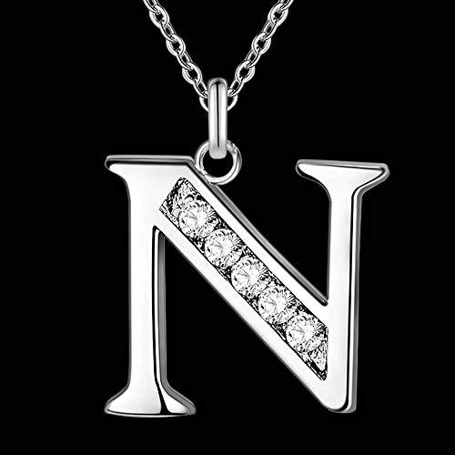 LKJH Letter A-S verzilverde ketting, 925 mode zilveren sieraden Fashion Hanger (Metal Color : N)