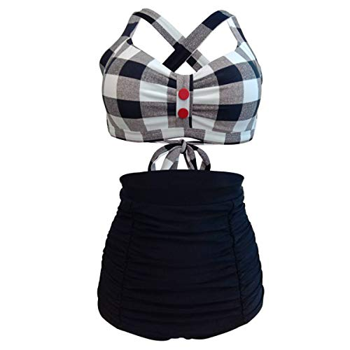 TFENG Bikini Set, Damen Zweiteiliger Bademode Badeanzüge Hohe Taille Bikinihose mit Volant, L, Schwarz