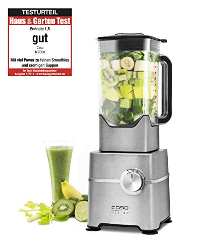 CASO B2000 High Speed Smoothie Blender, bis zu 32.000 Umdrehungen/ Min., 2000 Watt, 2 Liter Mixbehälter, ideal für grüne Smoothies