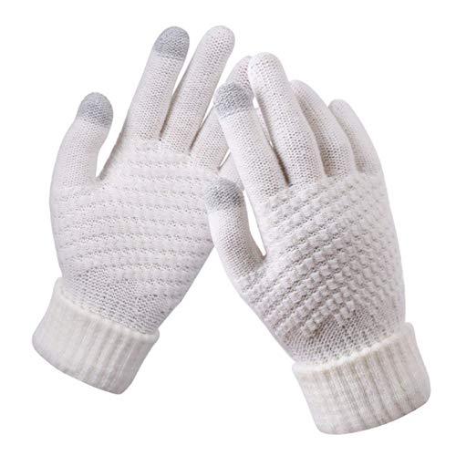 Hatian guantes de pantalla táctil de las mujeres de invierno de punto jacquard espesado antideslizante cálido 4 pares de guantes de invierno