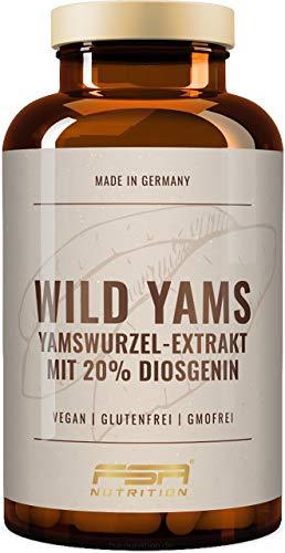 Yamswurzel Extrakt (Wild Yams) 180 Kapseln, 1000 mg je Tagesdosis, 20{6646a66ba506a72ed40a18be09e3a9b2850a76fcf3b9ce456e2e279d01a5844f} Diosgenin, Vegan - Hergestellt in Deutschland - FSA Nutrition