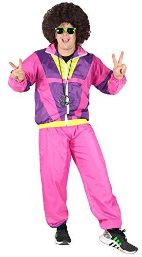 Bad Taste 80er Jahre Kostüm Trainingsanzug für Herren Jogginganzug - pink lila gelb - Größe S-XXXXL, Größe:XXXL