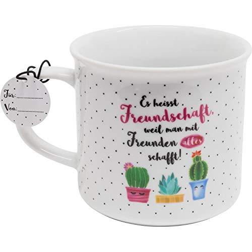 Die Geschenkewelt 46161 Kaffee-Tasse mit Spruch Es heisst Freundschaft, mit Geschenk-Anhänger, Porzellan, 40 cl