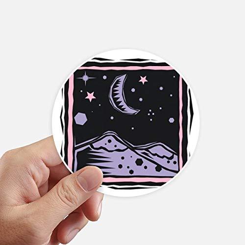 DIYthinker Purple Mountain Moon Star Élément Gravure Autocollant Rond 10CM Mur Valise pour Ordinateur Portable Motobike Decal 8Pcs diamètre 10Cm Multicolor