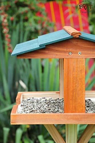 vogelhäuschen groß, mit ständer DACH DUNKEL-GRÜN / Vogelhaus,wetterfest IN DUNKELBRAUN,VIERDAORI-dbraun001 NEU ,Vogelhäuser+Vogelhausständer KLASSIK-PREMIUM Vogelhaus,Vogelfutterhaus, Vogelfutterhaus MIT-Futterstation Farbe braun dunkelbraun schokobraun rustikal klassisch,Ausführung Naturholz MIT WETTERSCHUTZ-DACH - 2