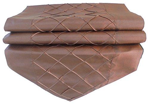 nappe tablerunner chemin de table lin soie thaïlandaise élégante losange 200 cm x 30 cm brun foncé