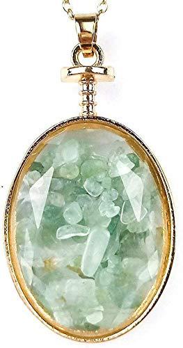 huangshuhua Collares Pendientes de Piedra para Mujer Chips Naturales Forma Ovalada Collares Colgantes de Piedra Verde aventurina Vintage con Adornos de Cadena Dorada