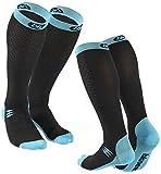 Bknees 2 Pares Calcetines de compresión [20-30 mmHg] - Mujeres/Hombres - para Mejorar el Rendimiento, la recuperación y la circulación sanguínea Durante el Ejercicio, el Viaje y el Vuelo