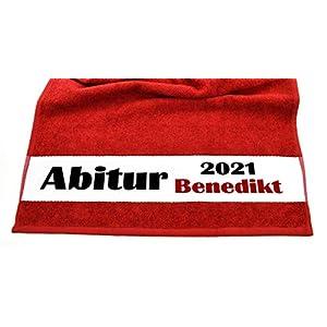 Bedruckte Frottiere Handtücher oder Bade/Duschtücher – Abigeschenke – Motiv 3″Abi 2021″ mit Ihrem Wunschnamen in 14 Farben zur Auswahl und 2 Größen
