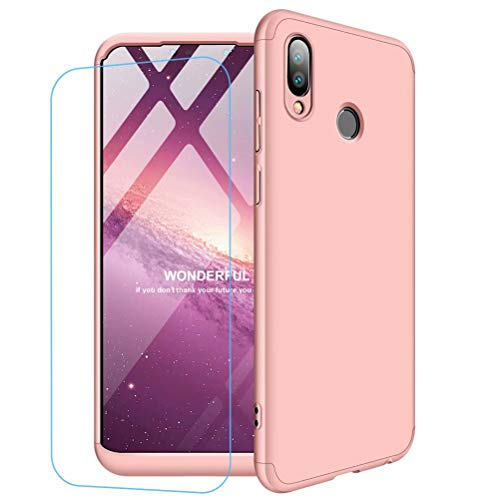 Funda Huawei Honor Play + Vidrio Templado Lanpangzi 360°Caja Caso 3 in 1 Carcasa Todo Incluido Anti-Scratch Case Cover Protectora de teléfono para Huawei Honor Play - Oro Rosa