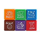 Teacher Stamp Set, Self-Inking Rubber Stamps Motivation School Encouragement Toys wtih Grading Super, Very Good, Nice Work, Great, Well Done, Terrific Pattern